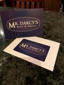gift card and envelope for Mr. Darcy's restaurant